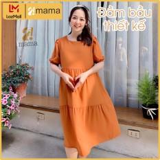 Váy bầu ( Đầm bầu ) dự tiệc thiết kế 3 tầng 2MAMA trơn một màu freesize dưới 75kg V12