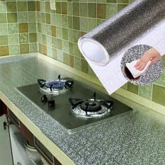 (LOẠI DÀI) Cuộn 3m decal giấy dán bếp tráng nhôm cách nhiệt ô vuông bạc khổ 60cm keo sẵn