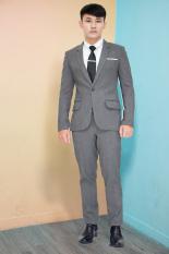 Bộ vest nam màu xám đậm ôm body tặng cà vạt nơ