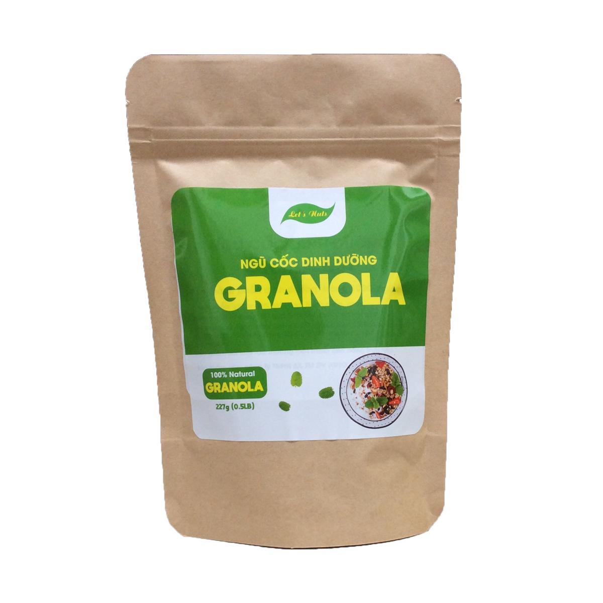 Ngũ cốc ăn kiêng Granola Let's Nuts làm từ yến mạch, mật ong, hạnh nhân, nho khô, bí xanh, dừa, hạt điều dành cho người bận rộn, giảm cân, ăn vặt văn phòng túi 227g