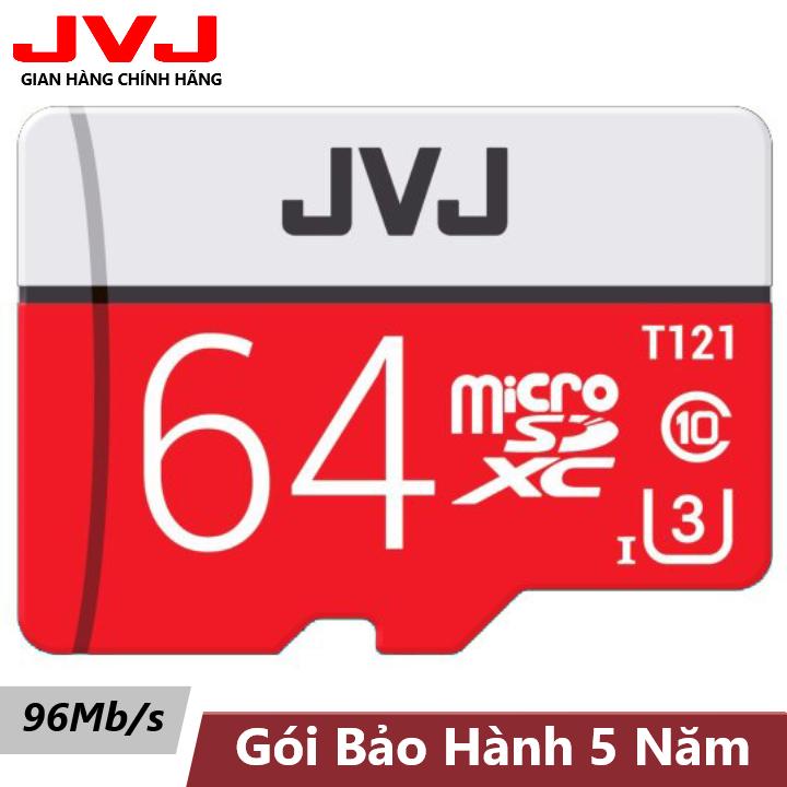 Thẻ nhớ 64Gb Class10 U3 JVJ Pro Tốc độ cao – thẻ nhớ chuyên dụng camera hành trình, camera wifi, camera yoosee, thẻ game, điện thoại, máy tính bảng, thẻ nhớ 64G, siêu bền, BH 5 năm Samsung, Oppo, Xiaomi, điện thoại android