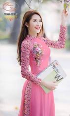 Bộ áo dài truyền thống hoa nhí hồng họa tiết hoa tay HT02 (cổ 2cm tay dài)