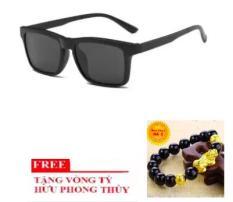 Mắt kính nam nữ Unisex Hàn (Đen) + Tặng Vòng đeo tay tỳ hưu, phong thủy mang lại may mắn tài lộc (Đen)