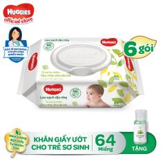 [Tặng Gel rửa tay Milaganics 35ml] Combo 6 Gói Khăn giấy ướt cho trẻ sơ sinh HUGGIES không mùi, gói 64 tờ