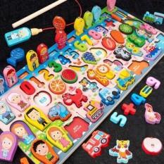 Bộ đồ chơi câu cá trí tuệ 63 chi tiết ,Đồ chơi bảng gỗ hình khối, giáo cụ học giúp bé học số đếm, học tiếng anh, màu sắc, phân biệt hình học cơ bản