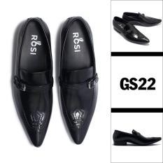 [GIẢM NGAY 280K] Giày da công sở. Giày lười ROSI GS22 ĐEN