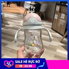 Bình uống nước chống sặc kèm ống hút và dây đeo cho bé size lớn 380ml M2