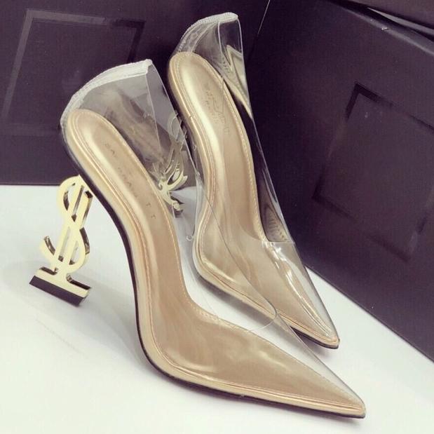 (Bảo hành 12 tháng) Giày cao gót nữ bít mũi trong suốt gót chữ S thời trang – Giày nữ gót cao 9cm – Giày bít mũi Mika trong cao cấp – Linus LN160