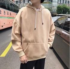 Áo hoodie trơn màu kem