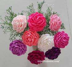 combo 9 bông hồng giấy nhún Ý cao cấp, màu tùy chọn + 1 bó hoa điểm trang trí