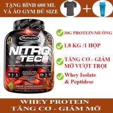 [TẶNG BÌNH LẮC và ÁO GYM ĐỦ SIZE] Sữa tăng cơ cực mạnh Whey Protein Nitro Tech của MuscleTech hộp 1.8kg hỗ trợ tăng cơ giảm mỡ, tăng sức bền sức mạnh vượt trội