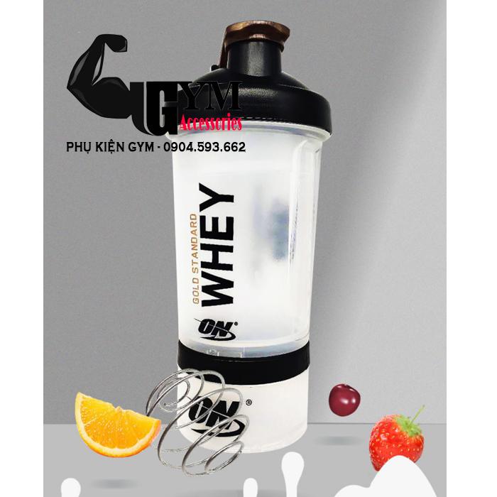 Bình lắc tập gym bình nước Shake bottle ON Gold Standard chính hãng 2 ngăn