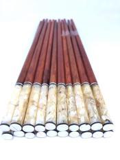 Bộ 10 đôi đũa ăn gỗ TRẮC cao cấp đầu tròn gắn vỏ ốc biển trắng — bộ 10 đôi
