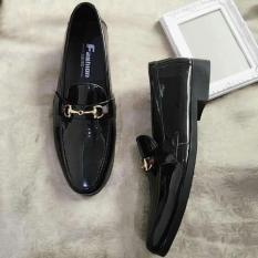 Giày tây nam đen bóng khóa vàng