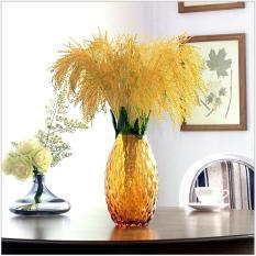 3 nhánh bông lúa vàng sung túc ấm no, bông lúa giả dài 86cm giống thật 95%