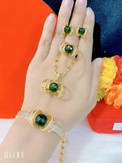 Bộ trang sức vàng 18k – Kadoshop B418060 – bộ trang sức nữ mạ vàng hoa xoáy nhụy đá pha lê màu sắc rực rỡ đính đá sáng lấp lánh lung linh thiết kế sang trọng Trang sức 1 – dùng đi tiệc cực kì sang chảnh