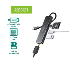 Bộ chuyển đổi 5in1 ROBOT HT240S Type-c sang cổng kết nối USB 3.0 /HDMI/PD/MicroSD/TFcard bộ chuyển đổi máy tính Macbook Matebook Máy Chiếu Tivi l HÀNG CHÍNH HÃNG