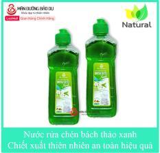 Bộ 2 chai Nước rửa chén Bách Thảo xanh hương trà xanh chiết xuất thiên nhiên không hại da tay – Chai 500g