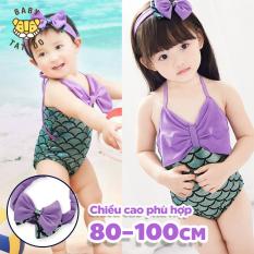 Áo tắm họa tiết vảy cá kèm tuban đội đầu cho bé gái