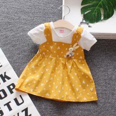 RẺ ĐẸP Váy đầm trẻ em gái, Đầm công chúa cho bé sơ sinh thỏ nơ vải cotton xuất dư đẹp V8
