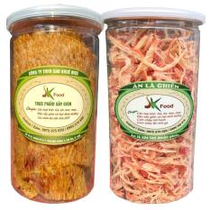 Combo 2 hũ mực xé hấp cốt dừa và mực ép tẩm gia vị thơm ngon hiệu SK FOOD – mỗi hũ 200g