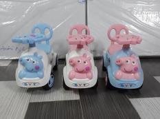 Xe lắc, chòi chân Heo Peppapig cho bé có nhạc + còi + thùng đồ + tựa lưng (Xe chòi chân cho bé) (Loại 1)