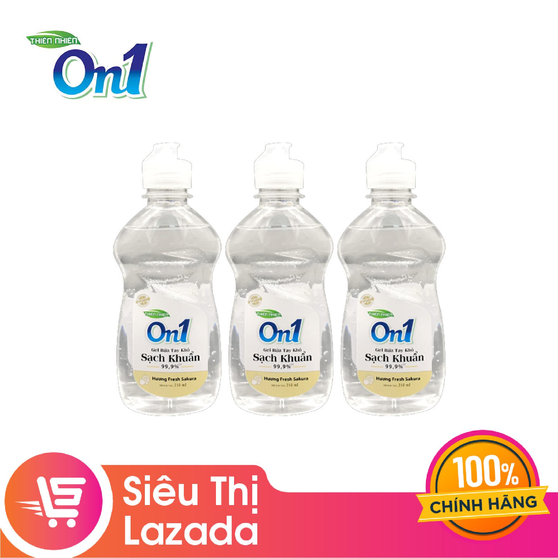 [Siêu thị Lazada] Combo 3 chai gel rửa tay khô ON1 hương Fresh Sakura 250ml, Khả năng diệt khuẩn cao, làm sạch vết bẩn tối đa