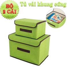 Bộ 2 hộp vải khung cứng đựng đồ, tủ vải đựng đồ, hộp vải đựng vật dụng siêu bền đa năng tiện lợi