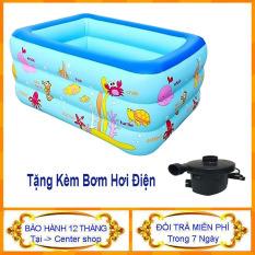 [ Mua 1 Tặng 1 ] Bể bơi cho bé – (KÈM BƠM ĐIỆN) Bể Bơi Cỡ Lớn 150cm Cao 3 Tầng Cho bé – Hồ bơi cho bé – Center shop