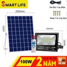 Đèn LED Năng Lượng Mặt Trời SMART LIFE 100w Điều Khiển Từ Xa Cảm Biến Ánh Sáng