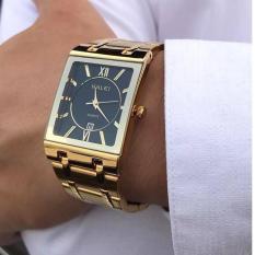 (SIÊU PHẨM 2018)Đồng hồ nam HALEI TL5564M mặt chữ nhật dây thép không gỉ cao cấp_2 màu thời trang