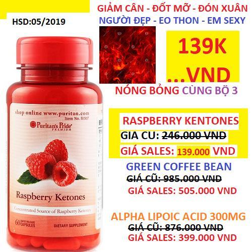 Viên uống hỗ trợ giảm cân an toàn Puritan's Pride Raspberry Ketones 60 viên HSD tháng 5/2019 *** GIÁ ĐẶC...