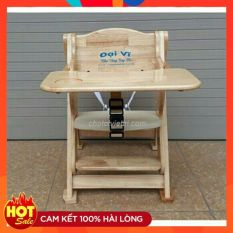 Ghế ăn dặm gỗ – Có dây bảo hiểm + bàn ăn dặm Đại Vĩ