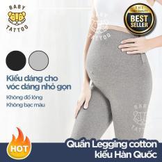 BABY TATTOO Quần Legging cotton mẹ bầu/phụ nữ đang mang thai kiểu Hàn Quốc