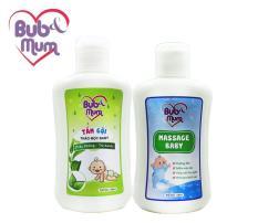 Combo chăm sóc làn da con mềm mại: Tắm gội Thảo Mộc Baby chiết xuất Trầu Không – Trà Xanh 100ml và Dầu Massage Baby 100ml BuB&MuM