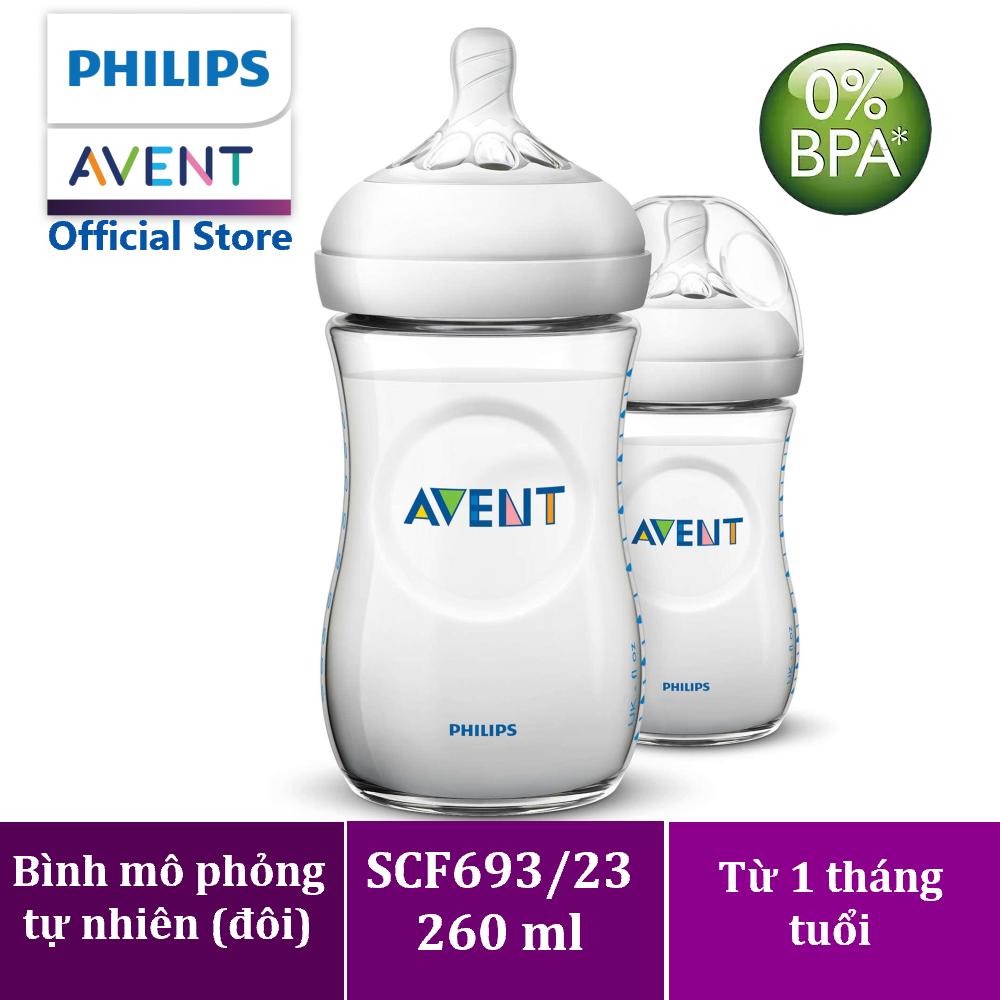 Bình sữa Philips Avent bằng nhựa không có BPA 260ml – đôi (SCF693/23) – Cho bé từ 1 tháng tuổi
