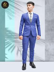 Bộ vest nam màu xanh dương sọc ca rô cao cấp tặng combo phụ kiện