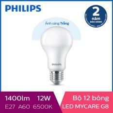 Bộ 12 Bóng đèn Philips LED MyCare 12W 6500K E27 A60 (Ánh sáng trắng)