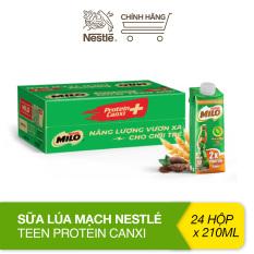 Thùng 24 hộp sữa lúa mạch Nestlé Milo Teen Protein Canxi (24x210ml)