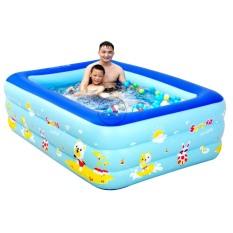 Phao bơi- bể bơi 3 tầng cho bé diện tích 1,5m họa tiết ngộ nghĩnh bồn tắm hơi cho bé , bồn tắm trẻ em bơm hơi + Tặng kèm keo miếng vá
