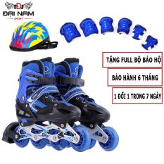 Giày Trượt Patin Bánh Cao Su Phát Sáng,Tăng Giảm Size OS + Tặng Kèm Bộ Bảo Hộ (Chân Tay + Mũ Bảo Hiểm)