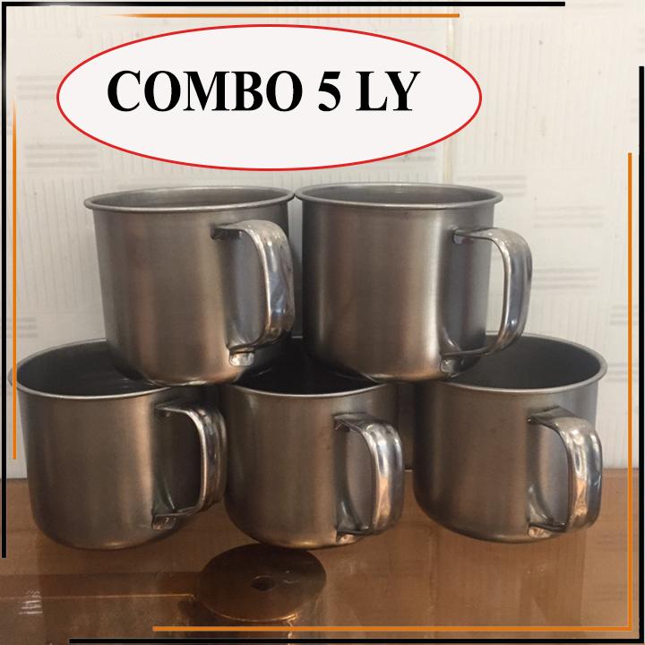 [COMBO 5 LY] Ly inox có quai uống nước. Ca làm đá có quai bằng inox