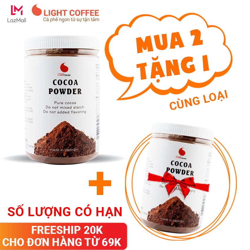 [MUA 2 TẶNG 1] Bột Cacao nguyên chất không đường Light Cacao tốt cho sức khỏe – hũ 350g