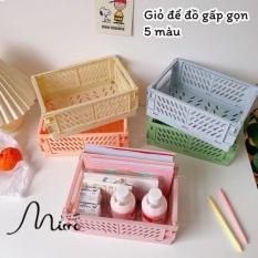 Giỏ đựng đồ xếp gọn đặt trên bàn lưu trữ đồ dùng, mỹ phẩm, phụ kiện decor chụp ảnh 5 màu kích thước 25*17cm – Mimomart HN