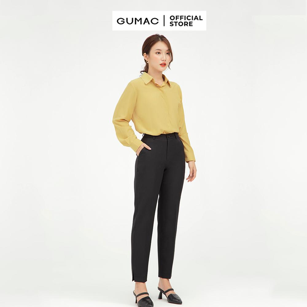 Quần tây xẻ lai GUMAC mẫu mới QB546 Chất Liệu Cotton Chéo form cơ bản style công sở