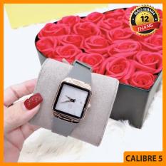 Đồng hồ nữ thời trang – Đồng hồ nữ GUOU dây cao su cao cấp mềm mại đeo rất êm tay, Mặt vuông size 28mm hiển thị lịch ngày – Tặng kèm hộp và pin dự phòng – Bảo hành 12 tháng