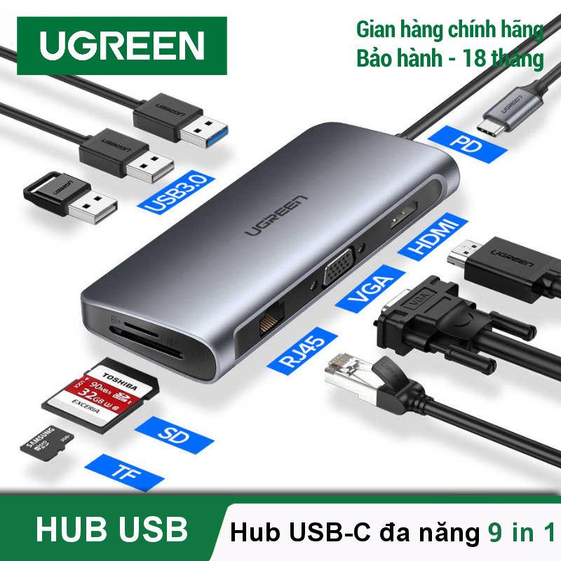 [BH 24 tháng 1 đổi 1] Bộ chuyển đổi đa năng 9 trong 1 UGREEN 40873 USB Type C sang 3*USB 3.0+HDMI+VGA+RJ45+SD/TF+PD cho MacBook Pro 2020 2018 2017 / MacBook Air / Dell XPS 13