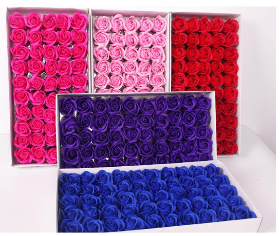 Hộp 50 đầu bông hoa sáp thơm, hàng sẵn, đủ màu
