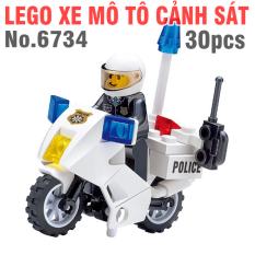 Lego xe mô tô cảnh sát đồ chơi trẻ em gồm 30pcs bằng nhựa cao cấp mã No.6734