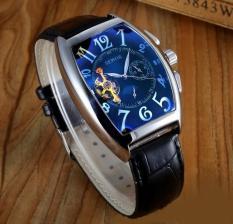 Đồng hồ cơ nam dây da cao cấp SEWOR (đen) hoạt động năng lượng cơ học bền bỉ, kiểu dáng ấn tượng, bo tay